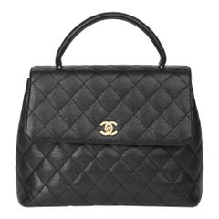 2002 Chanel Black Quilted Caviar Leather Classic Kelly