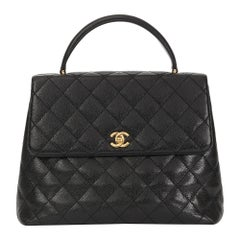 2002 Chanel Black Quilted Caviar Leather Timeless Kelly