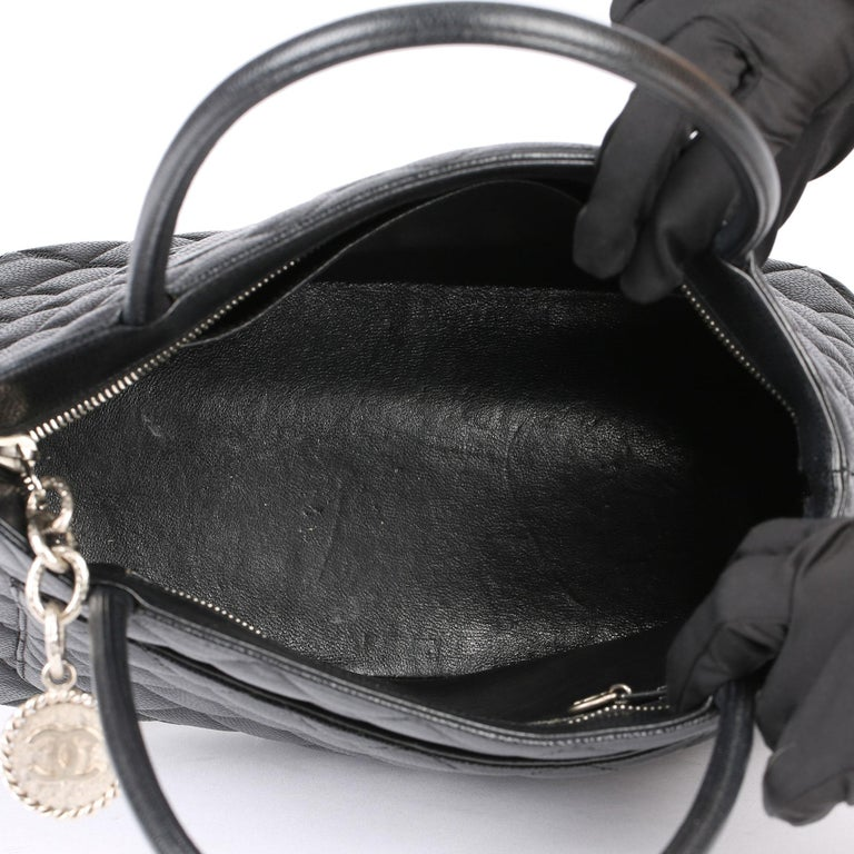 2002 Chanel Black Quilted Caviar Leather Vintage Medallion Tote  For Sale 7