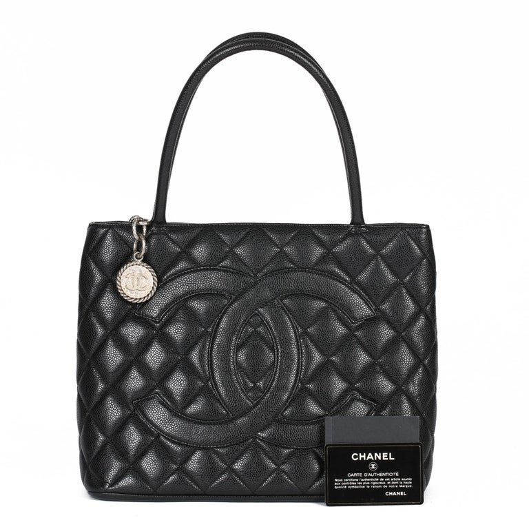 2002 Chanel Black Quilted Caviar Leather Vintage Medallion Tote  For Sale 8