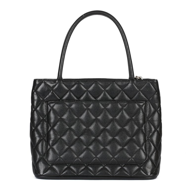 2002 Chanel Black Quilted Caviar Leather Vintage Medallion Tote  For Sale 1