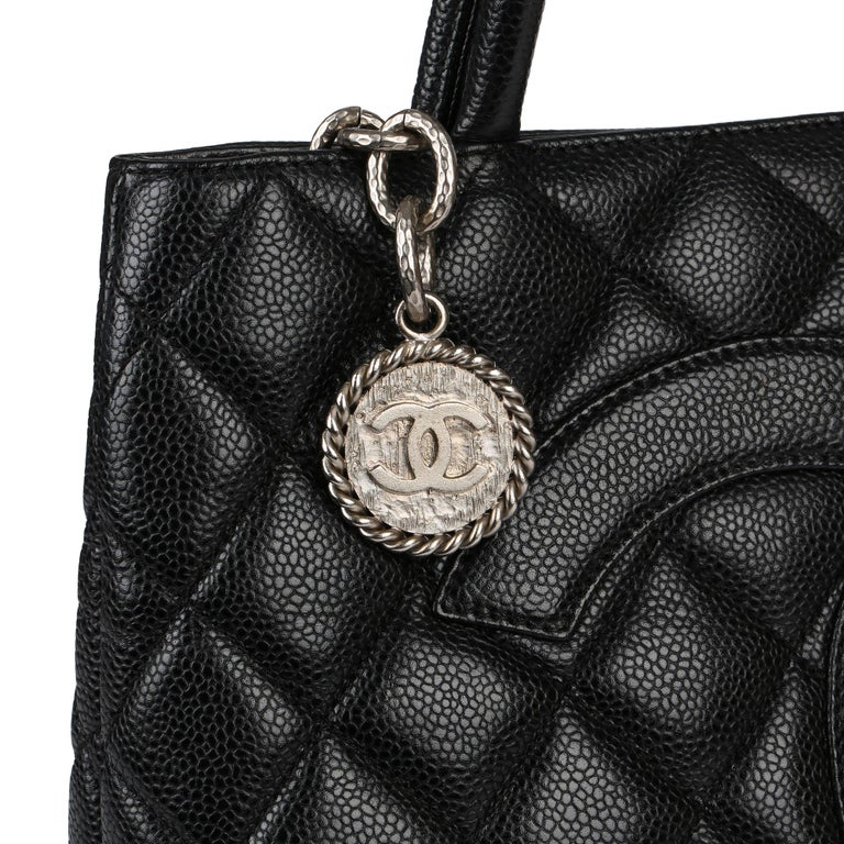 2002 Chanel Black Quilted Caviar Leather Vintage Medallion Tote  For Sale 3