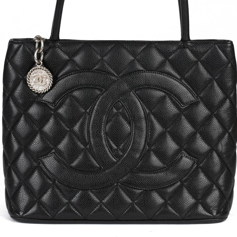 2002 Chanel Black Quilted Caviar Leather Vintage Medallion Tote  For Sale 4