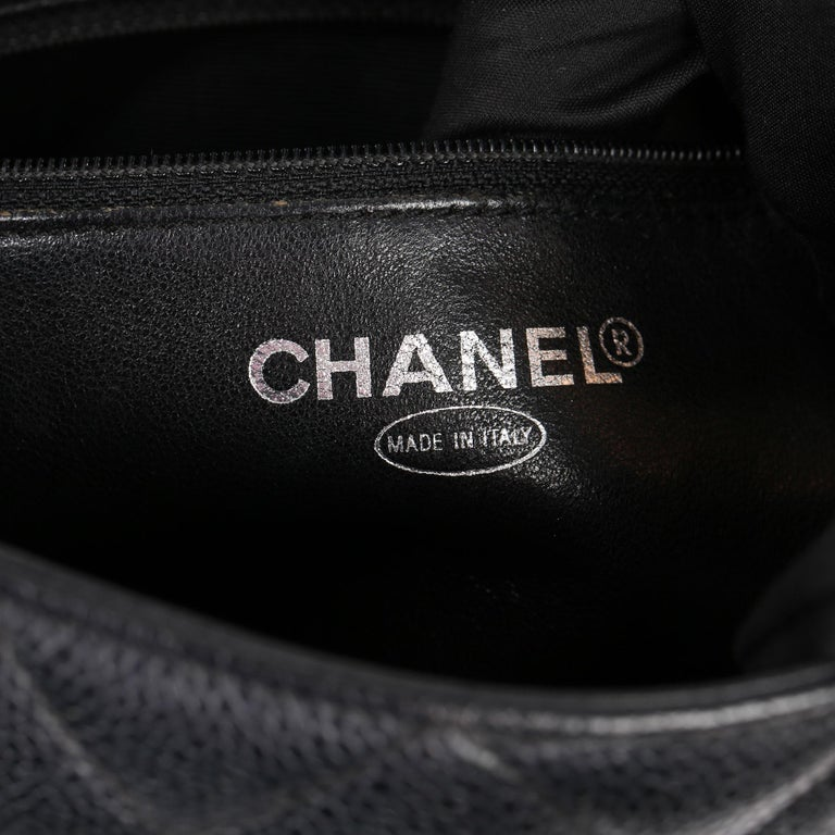 2002 Chanel Black Quilted Caviar Leather Vintage Medallion Tote  For Sale 5