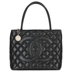2002 Chanel Black Quilted Caviar Leather Vintage Medallion Tote