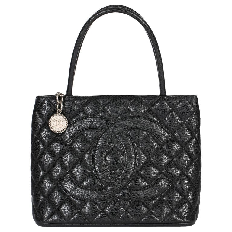 2002 Chanel Black Quilted Caviar Leather Vintage Medallion Tote  For Sale