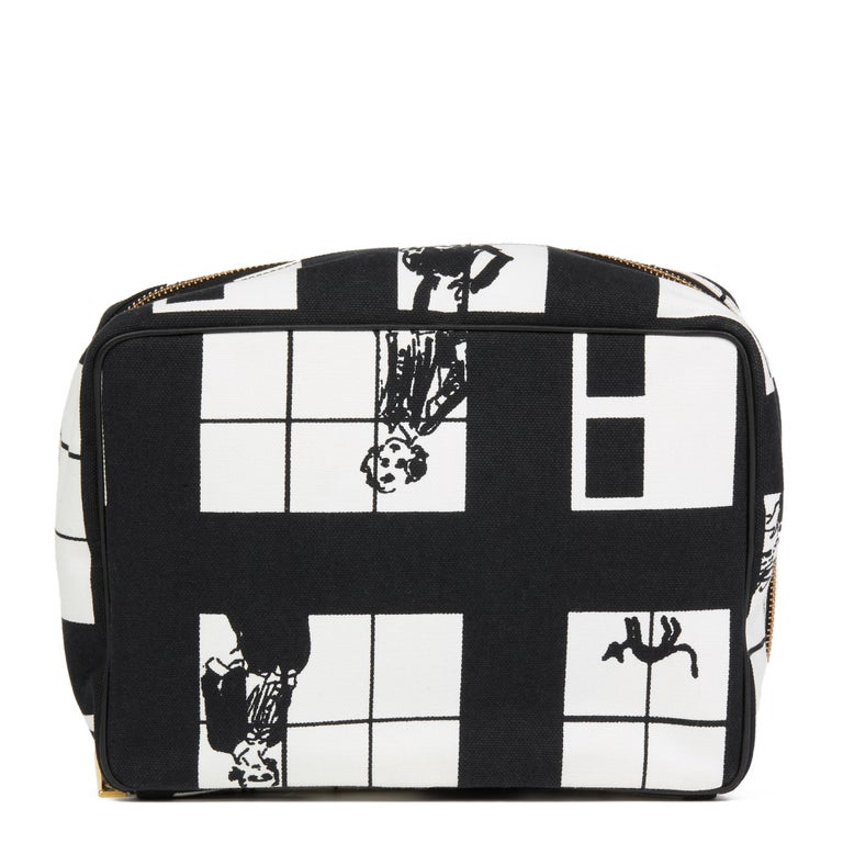 Women's 2002 Chanel Black & White Canvas 'Window Line' Toiletry Pouch For Sale