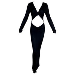 2002 Gucci by Tom Ford Black L/S Cut-Out Gown Dress 42