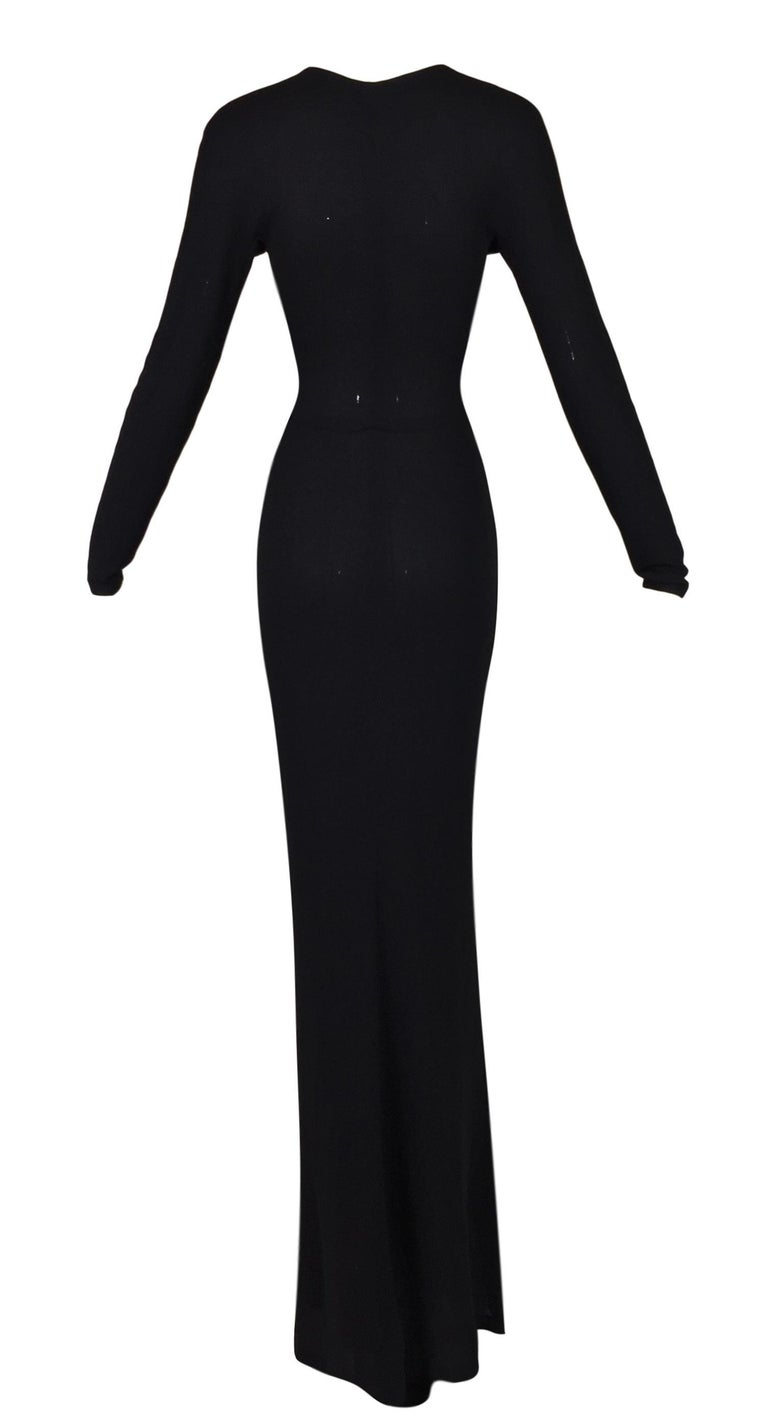 2002 Gucci by Tom Ford Long Black Cut-Out L/S Gown Dress 38 In Good Condition For Sale In Yukon, OK