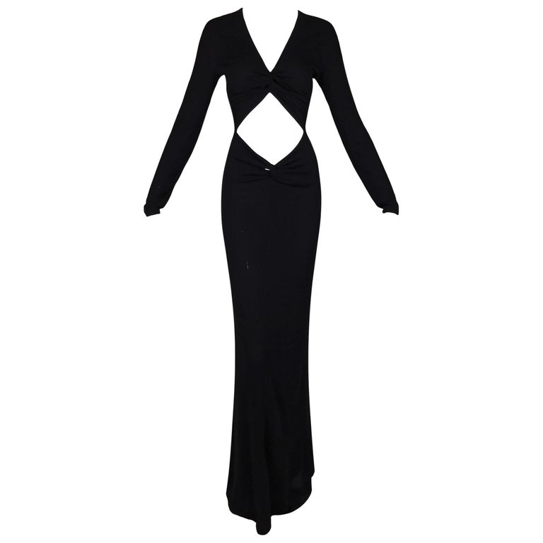 2002 Gucci by Tom Ford Long Black Cut-Out L/S Gown Dress 38 For Sale