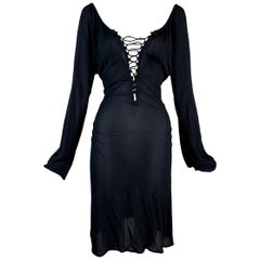 2002 Gucci by Tom Ford Semi-Sheer Plunging Lace Up L/S Dress