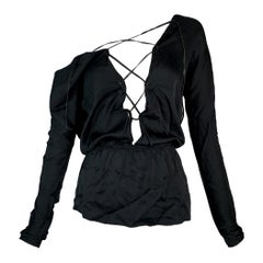 2002 Gucci Tom Ford Black Silk Plunging Lace-Up Backless Top Blouse