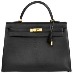 2002 Hermès Black Chevre de Coromandel Leather Kelly 35cm Sellier