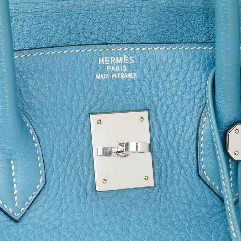 2002 Hermes Blue Jean Fjord Leather Birkin 35cm 2