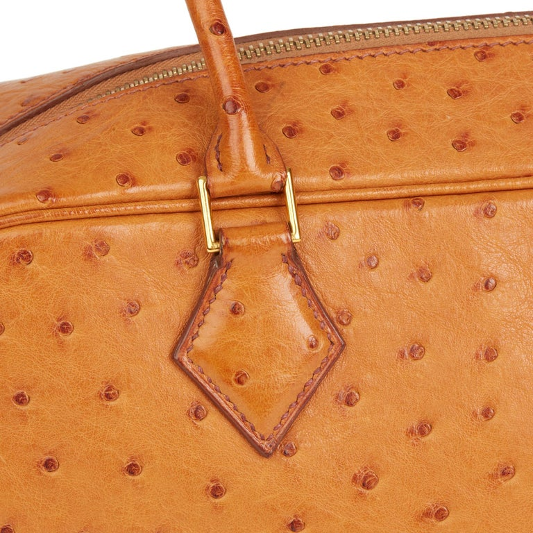 2002 Hermes Gold Ostrich Leather Plume 28 For Sale 2