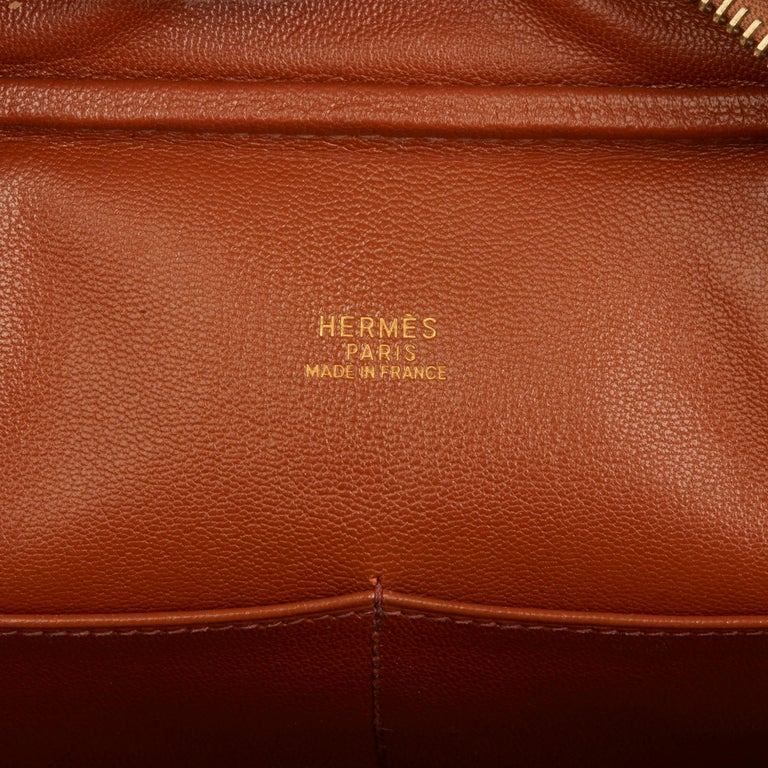 2002 Hermes Gold Ostrich Leather Plume 28 For Sale 4
