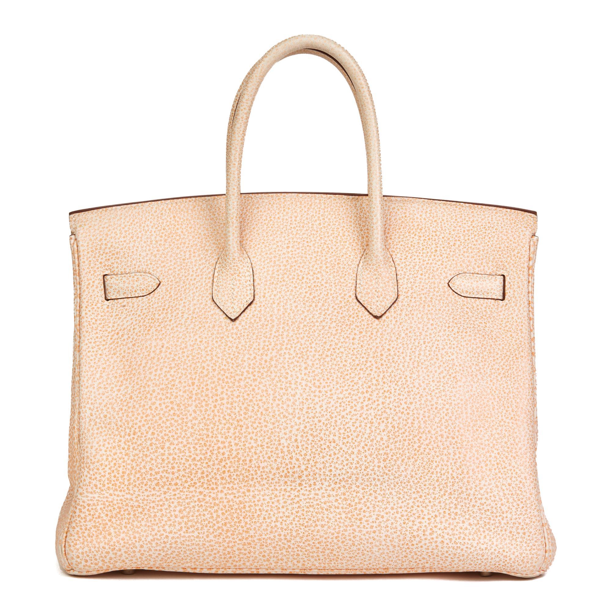 859b6f0aa16 2002 Hermes Orange Dalmation Buffalo Leather Birkin 35cm For Sale at 1stdibs