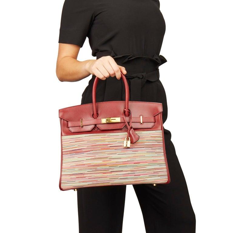 2002 Hermès Rouge H Box Calf Leather Vibrato Birkin 35cm For Sale 5