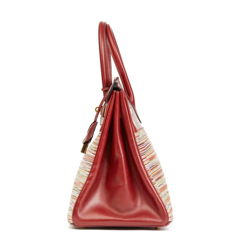 Brown 2002 Hermès Rouge H Box Calf Leather Vibrato Birkin 35cm For Sale