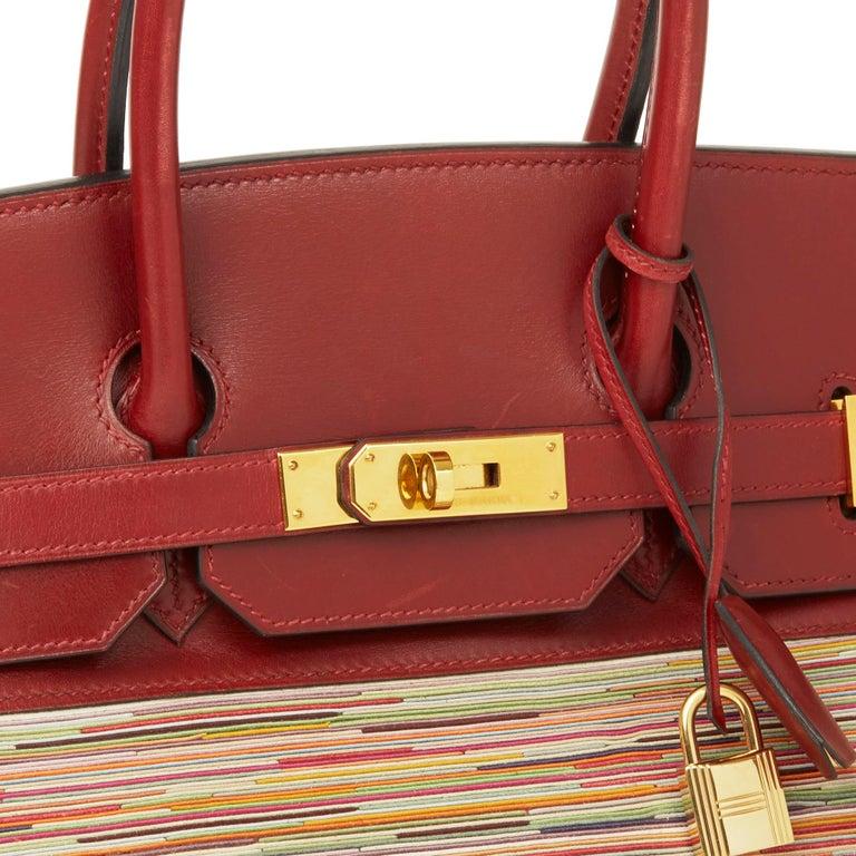 2002 Hermès Rouge H Box Calf Leather Vibrato Birkin 35cm For Sale 1