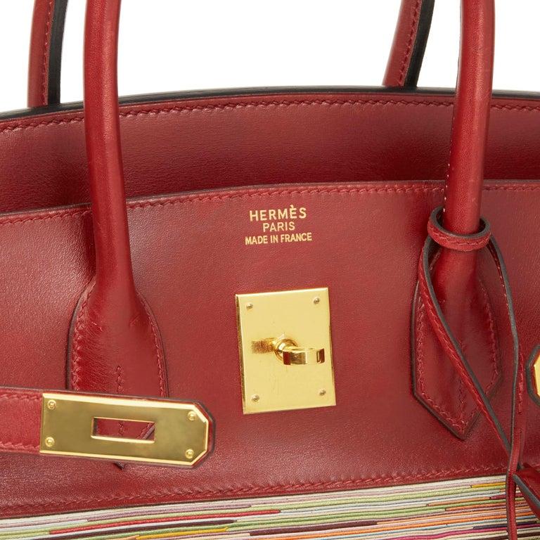 2002 Hermès Rouge H Box Calf Leather Vibrato Birkin 35cm For Sale 2