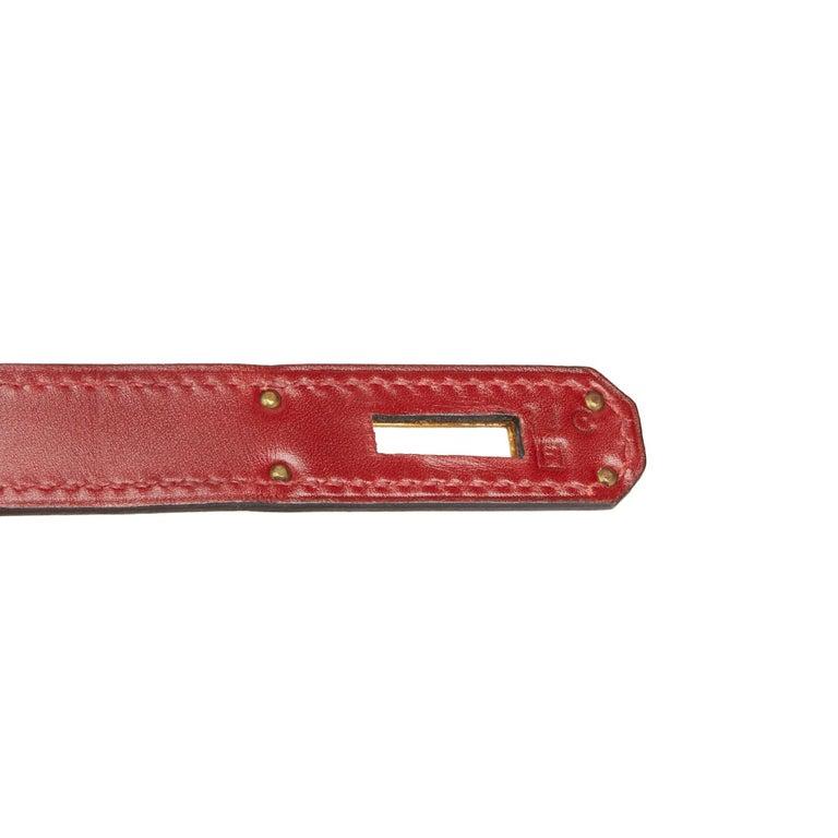 2002 Hermès Rouge H Box Calf Leather Vibrato Birkin 35cm For Sale 3