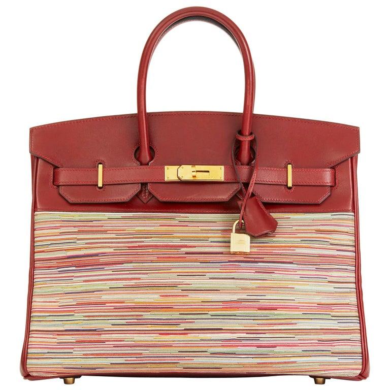 2002 Hermès Rouge H Box Calf Leather Vibrato Birkin 35cm For Sale
