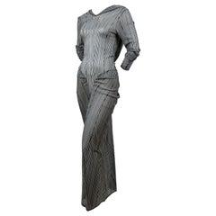2002 JOHN GALLIANO slinky striped dress with hood