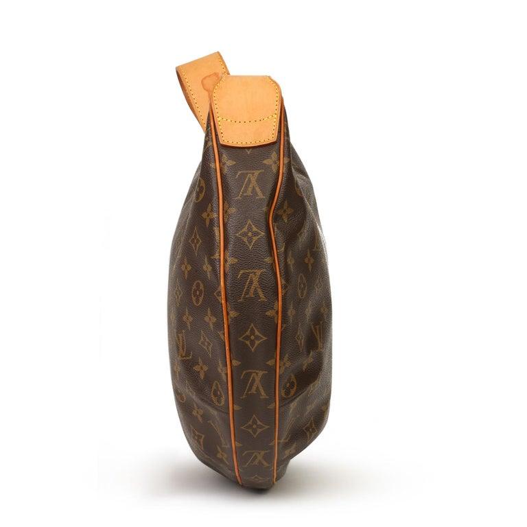 Black 2002 Louis Vuitton Brown Monogram Coated Canvas & Vachetta Leather Croissant GM For Sale