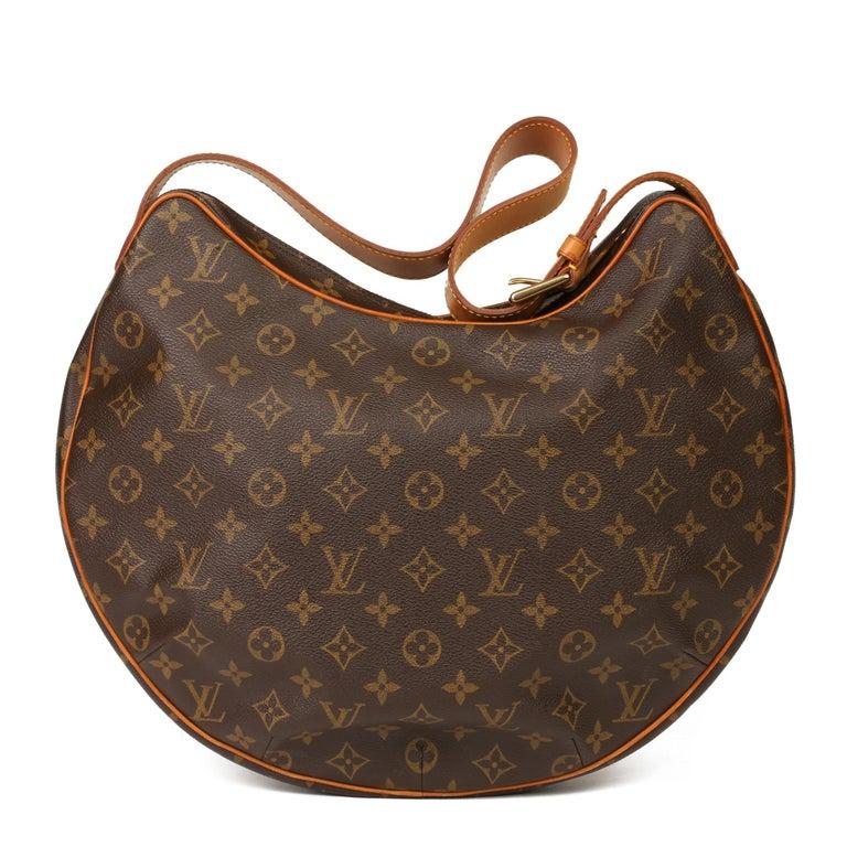 2002 Louis Vuitton Brown Monogram Coated Canvas & Vachetta Leather Croissant GM In Excellent Condition For Sale In Bishop's Stortford, Hertfordshire