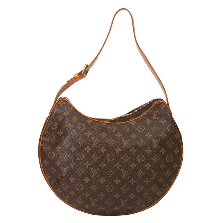 2002 Louis Vuitton Brown Monogram Coated Canvas & Vachetta Leather Croissant GM For Sale