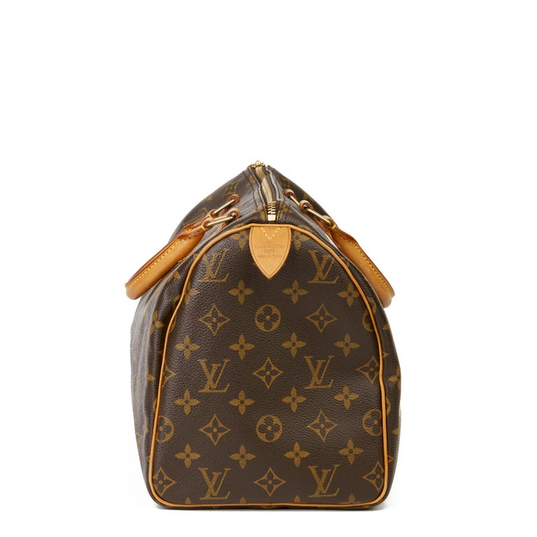 LOUIS VUITTON X Year Zero London Hand-painted  'Love is Love' Brown Monogram Coated Canvas Speedy 30  Xupes Reference: HB3093 Serial Number: LB1022 Age (Circa): 2002 Authenticity Details: Date Stamp (Made in Spain) Gender: Ladies Type: Tote