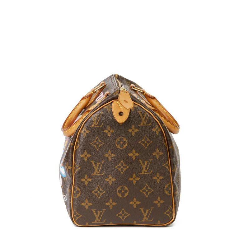 2002 Louis Vuitton Hand-painted  Love is Love Monogram Coated Canvas Speedy 30 In Excellent Condition For Sale In Bishop's Stortford, Hertfordshire