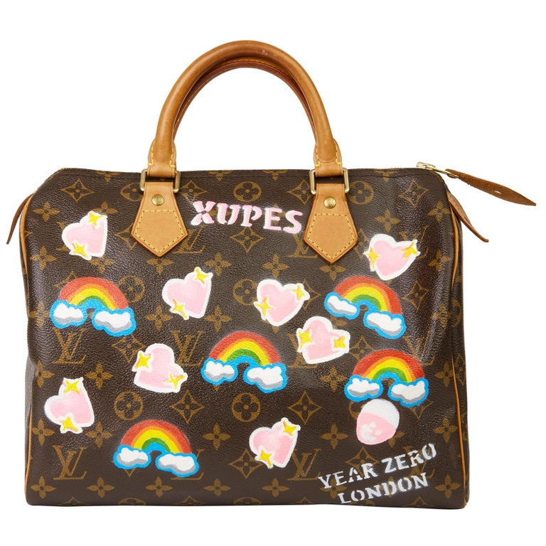 2002 Louis Vuitton Hand-painted  Love is Love Monogram Coated Canvas Speedy 30 For Sale