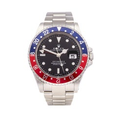 2002 Rolex GMT-Master II Pepsi Stainless Steel 16710 Wristwatch