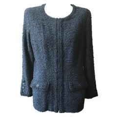 2002 Spring Chanel Cotton Blend Black w/Silver Flecks Boucle Zip Jacket 42FR