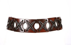 2002 TOM FORD for YVES SAINT LAURENT wood and leather belt - new