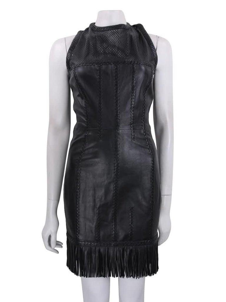Gianni Versace leather dress Lace up back Fringe Laser cut details  IT Size 44 Excellent condition