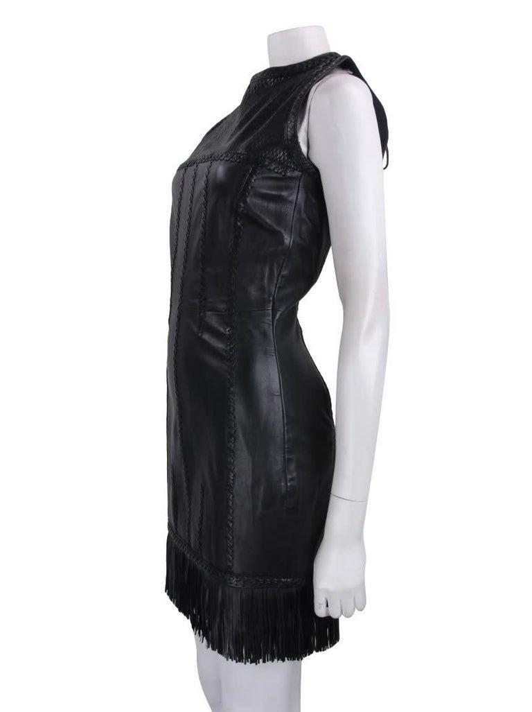 Women's 2002 Vintage Gianni Versace Black Leather Dress For Sale