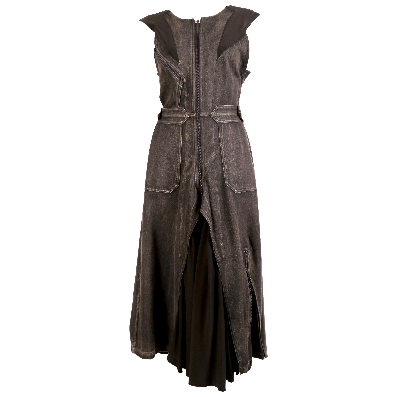 2002 YOHJI YAMAMOTO distressed black denim and silk runway dress