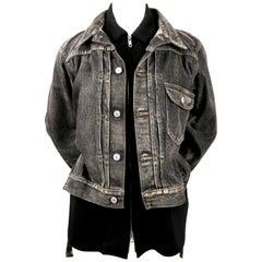 2002 YOHJI YAMAMOTO distressed black denim runway jacket