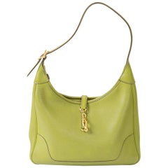 2002s Hermes Green Trim Shoulder Tote Bag