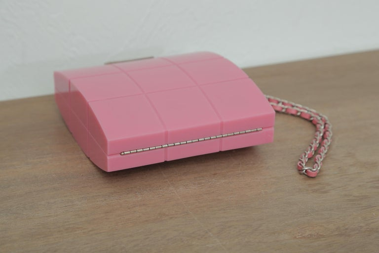 2002s Rare Chanel Perspex Lucite Minaudiere Pink Plastic Clutch For Sale 5
