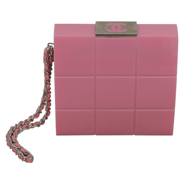 2002s Rare Chanel Perspex Lucite Minaudiere Pink Plastic Clutch For Sale