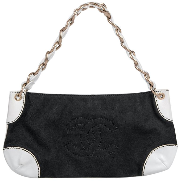 "2003/2004 CHANEL Black Canvas & White Leather ""Olsen"" CC Stitching Shoulder Bag"
