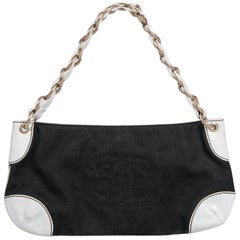 "2003/2004 Chanel Black Canvas & White Leather ""Olsen"" CC Stitching Shoulder Bag"