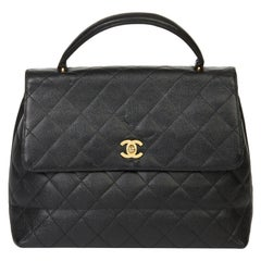2003 Chanel Black Quilted Caviar Leather Classic Kelly