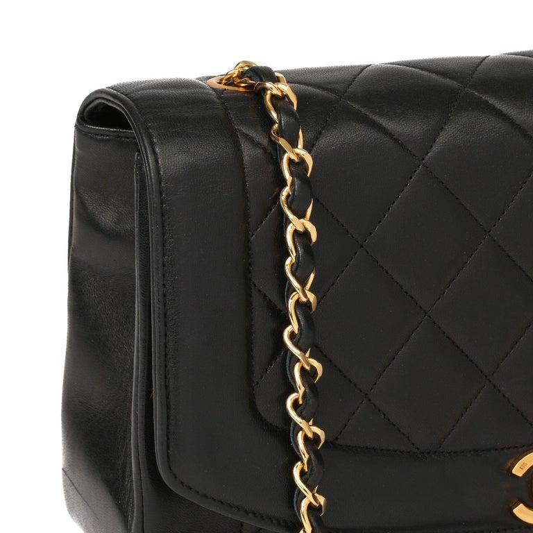 2003 Chanel Black Quilted Lambskin Medium Diana Classic Single Flap Bag 6
