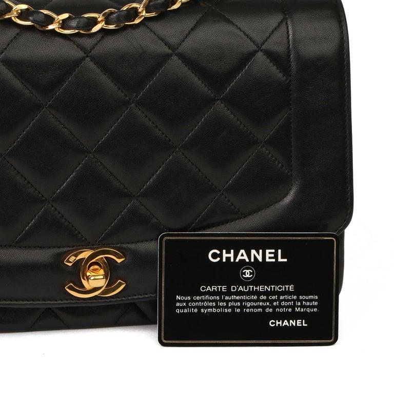 2003 Chanel Black Quilted Lambskin Medium Diana Classic Single Flap Bag 7