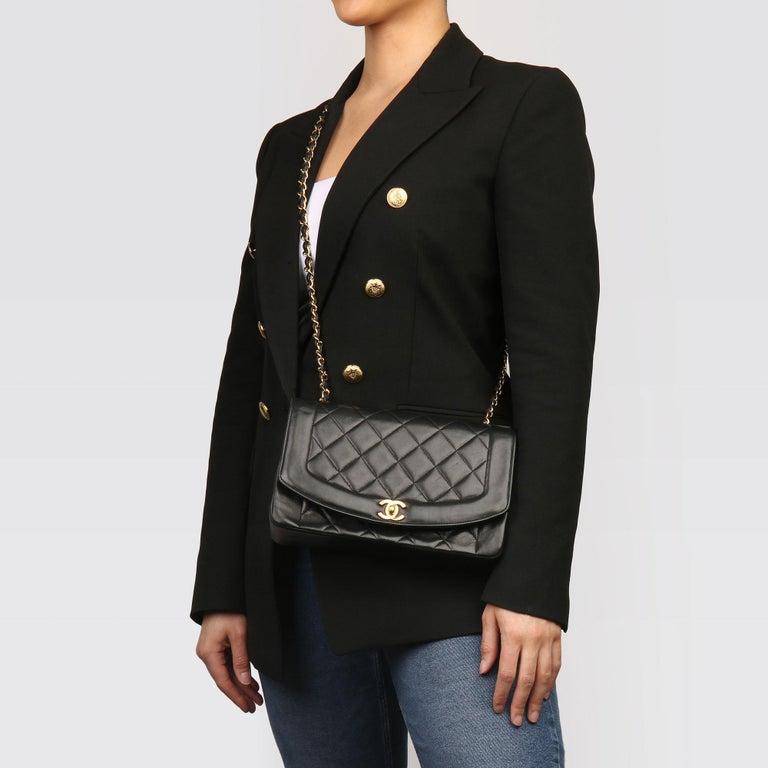 2003 Chanel Black Quilted Lambskin Medium Diana Classic Single Flap Bag 8